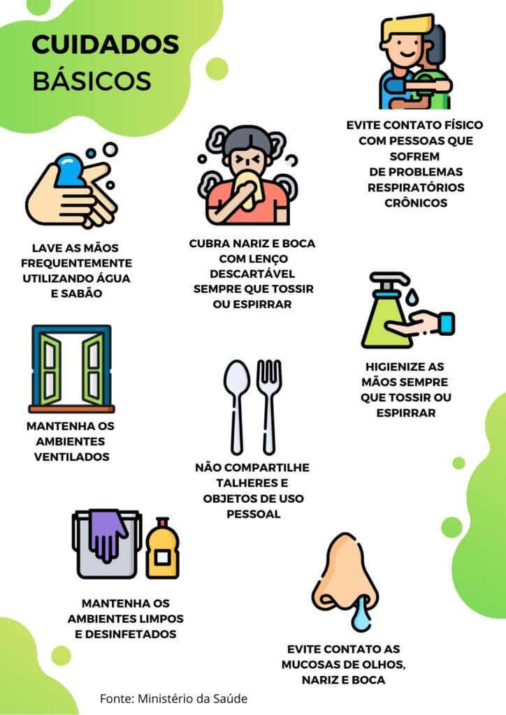 folder explicativo com dicas para cuidados de rotina contra o coronavirus