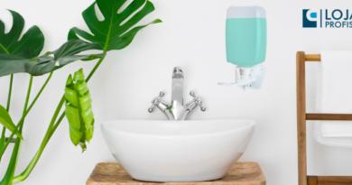 lavabo com saboneteira eco pump presa na parede